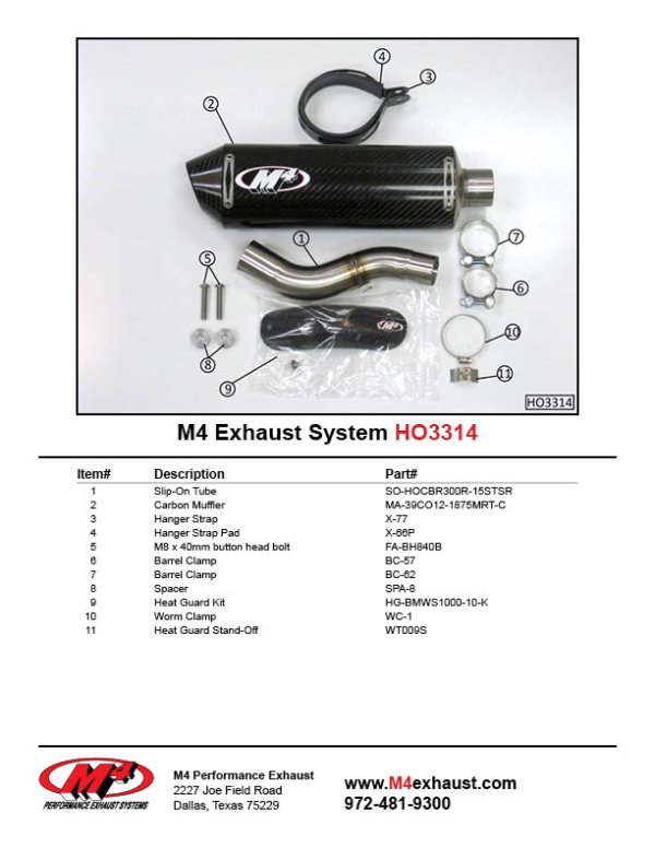 HO3314 Component Key