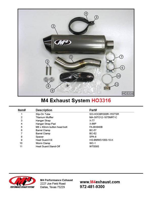 HO3316 Component Key