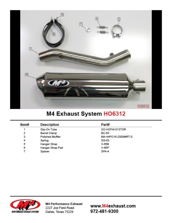 HO6312 Component Key