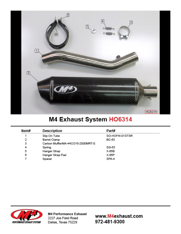 HO6314 Component Key