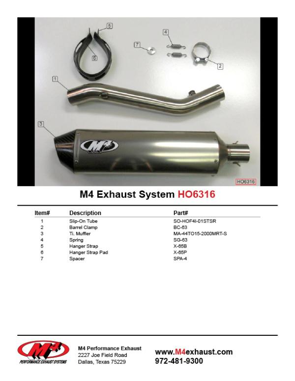 HO6316 Component Key