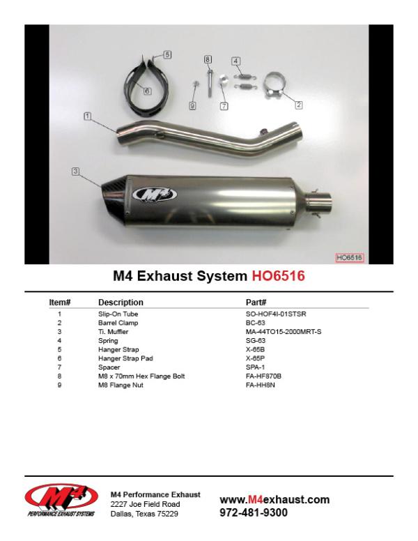 HO6516 Component Key