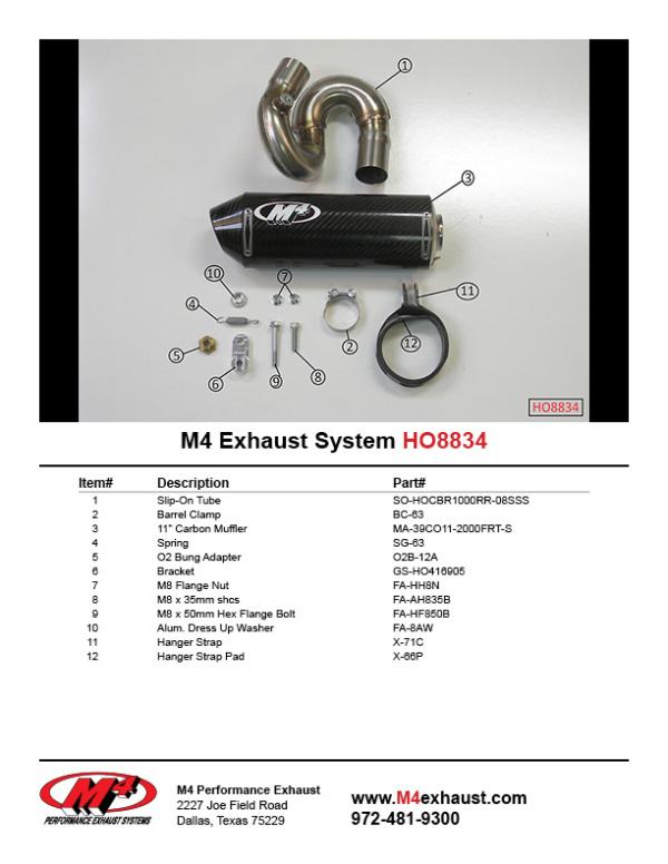 HO8834 Component Key