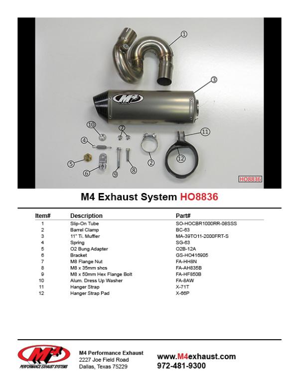 HO8836 Component Key