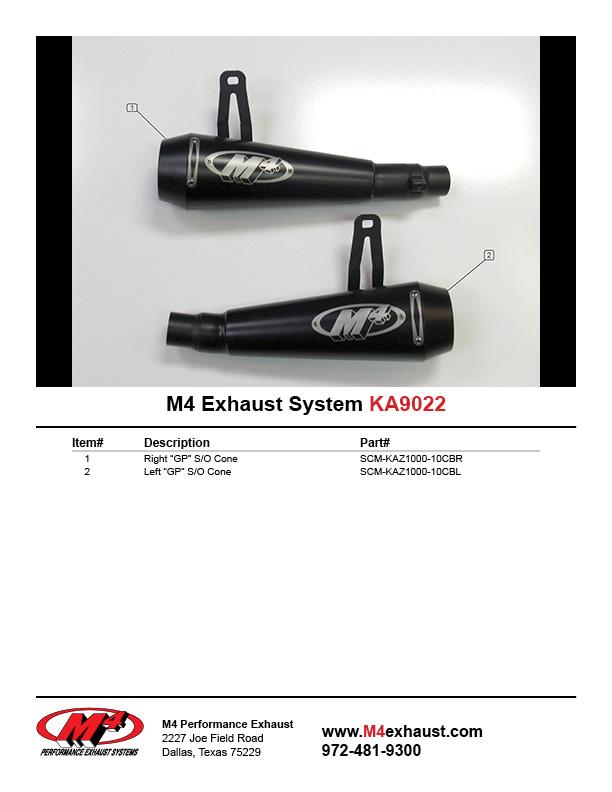 M4 Performance Exhaust dual GP Slip-Ons compatible with 2010-2019 Kawasaki Z1000 Ninja 1000 KA9022-GP