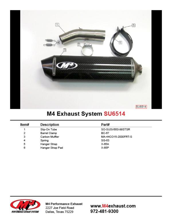SU6514 Component Key