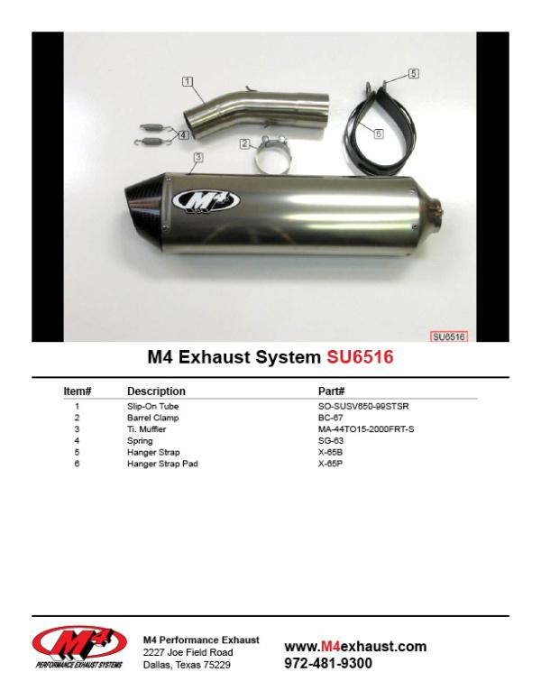 SU6516 Component Key