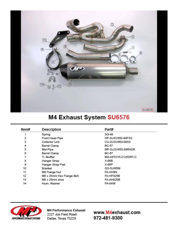 SU6576 Component Key