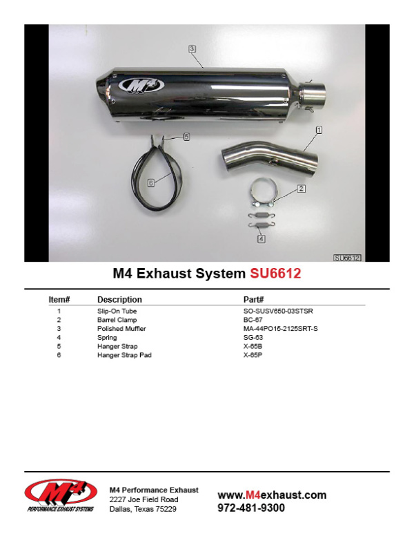 SU6612 Component Key
