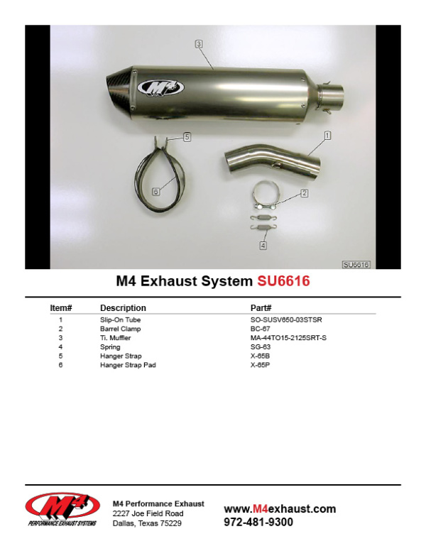 SU6616 Component Key