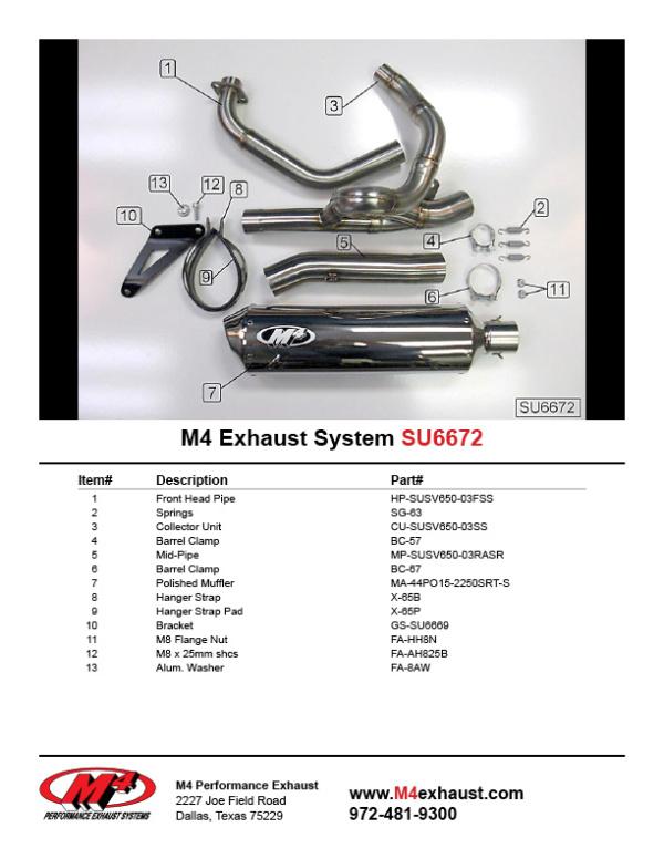SU6672 Component Key