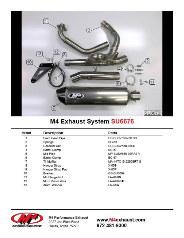 SU6676 Component Key