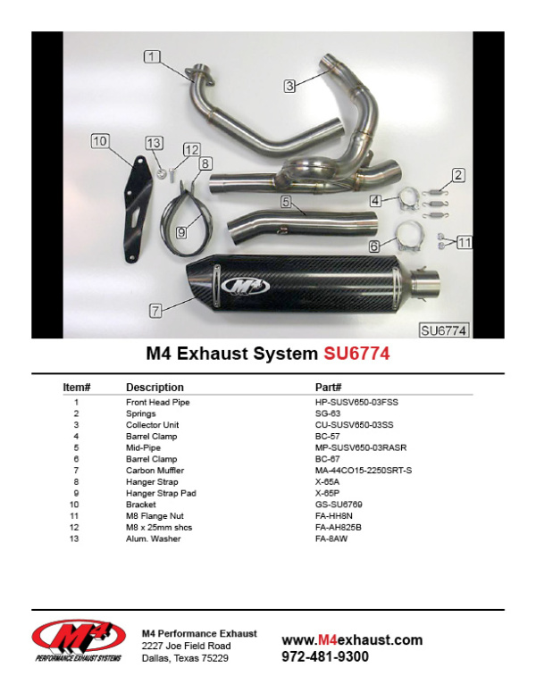 SU6774 Component Key