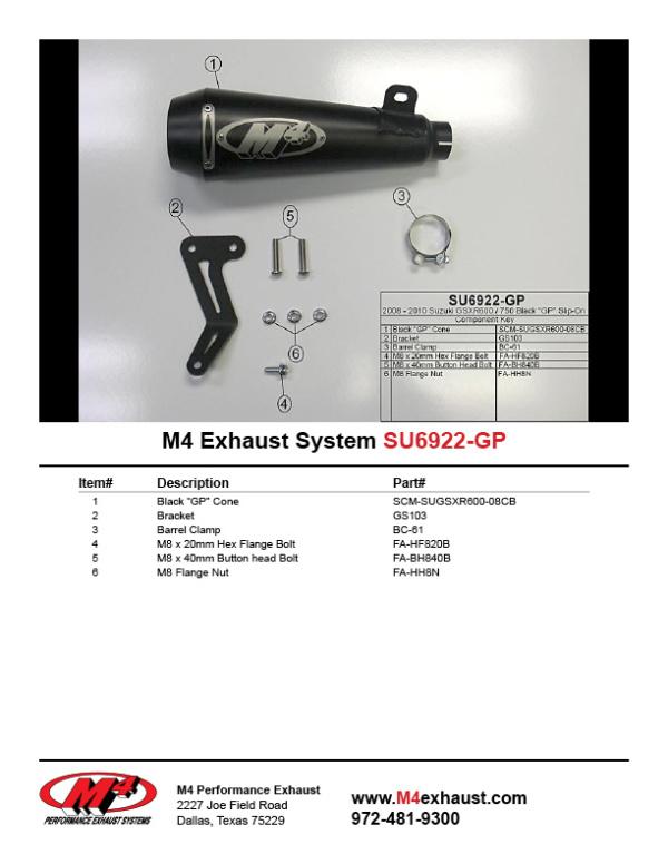 SU6922-GP Component Key