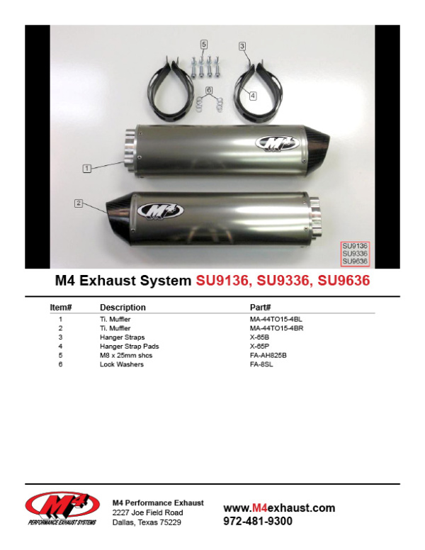 SU9136-9336-9636 Component Key