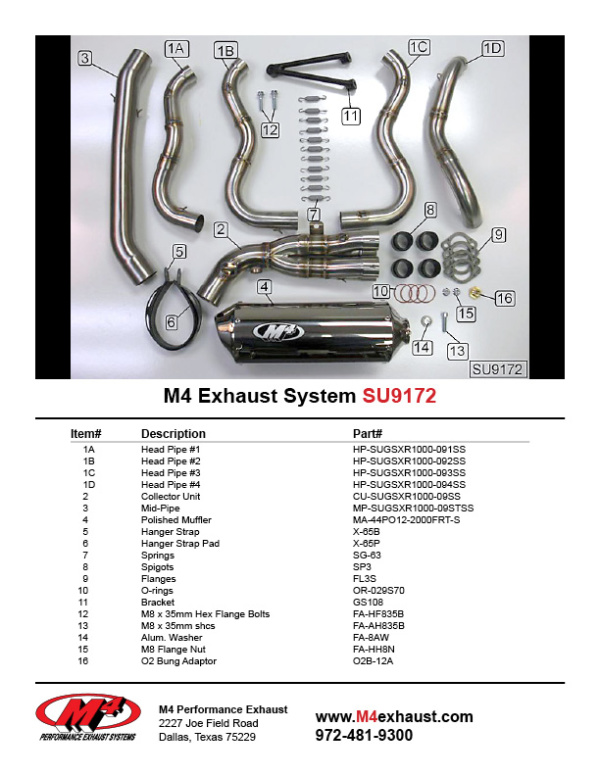 SU9172 Component Key