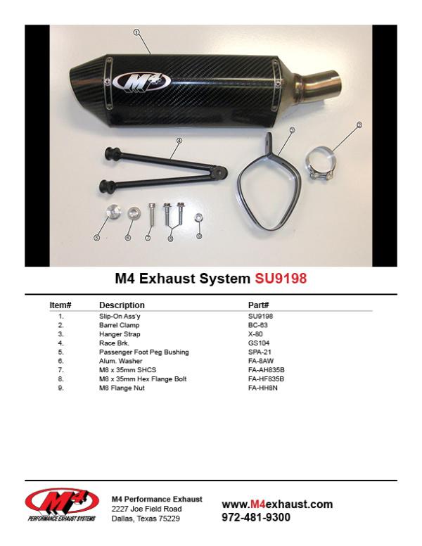 SU9198 Component Key