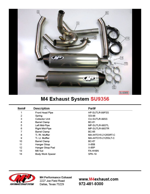 SU9356 Component Key