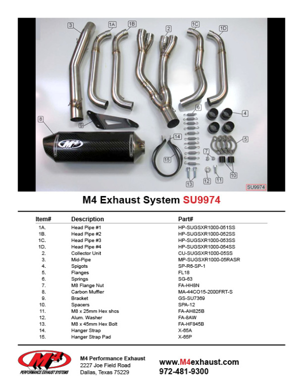 SU9974 Component Key