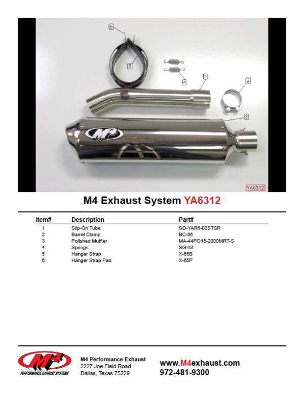 YA6312 Component Key