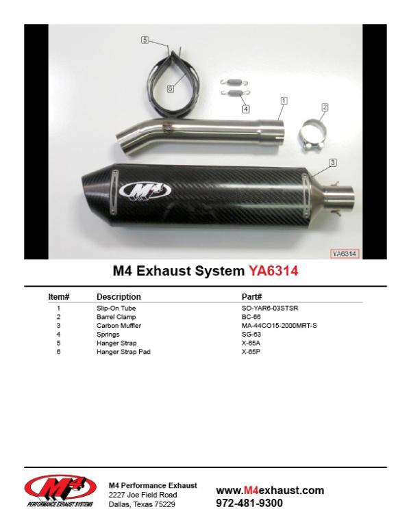 YA6314 Component Key