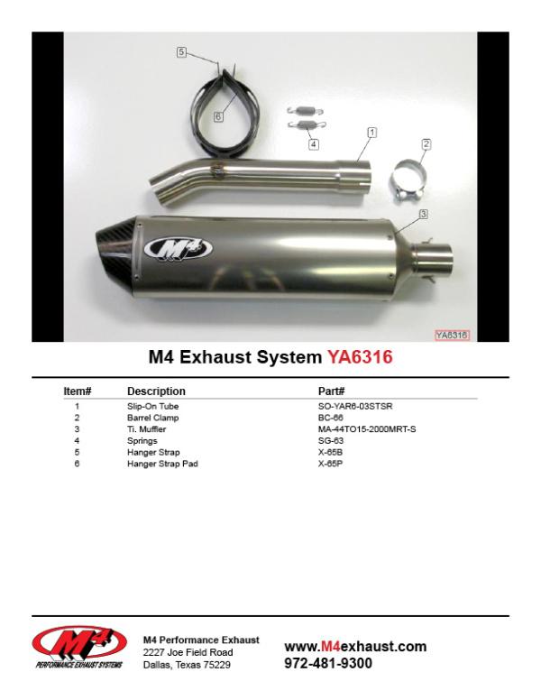 YA6316 Component Key