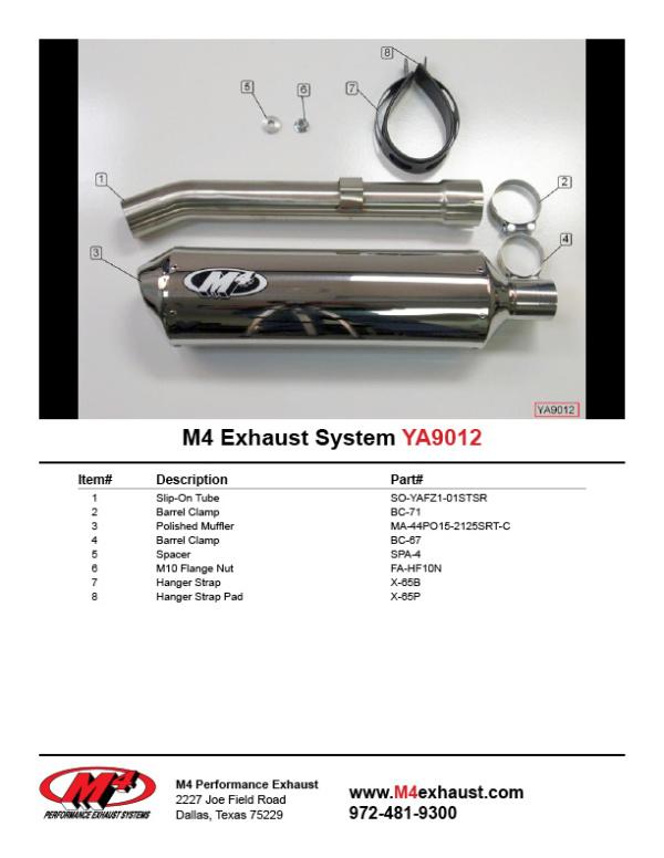YA9012 Component Key