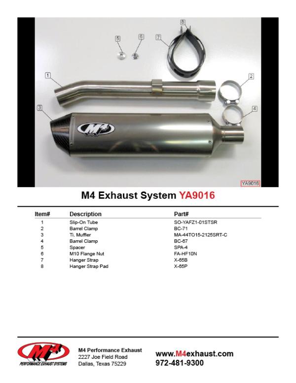 YA9016 Component Key