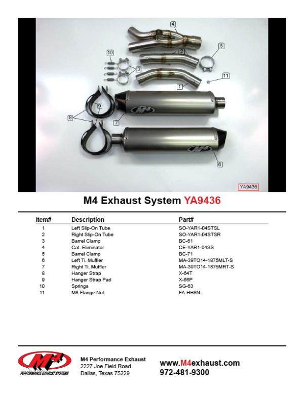 YA9436 Component Key