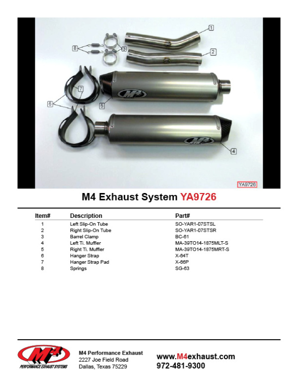 YA9726 Component Key