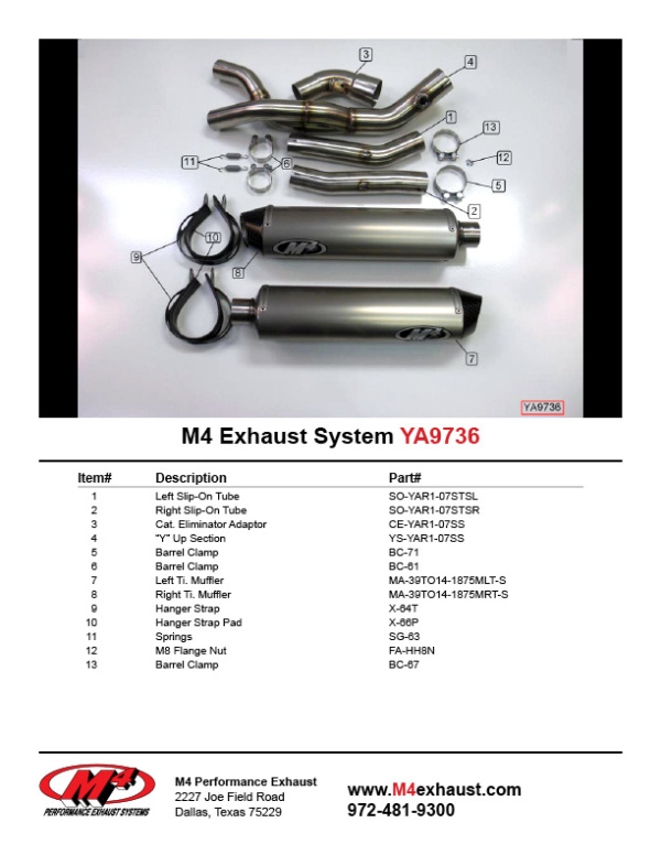 YA9736 Component Key